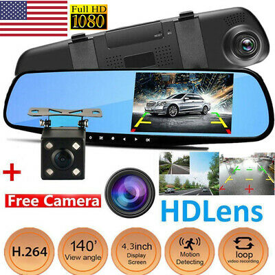 US 4.3'' HD 1080P Dual Lens Car DVR Mirror Dash Cam Recorder+Rear View Camera