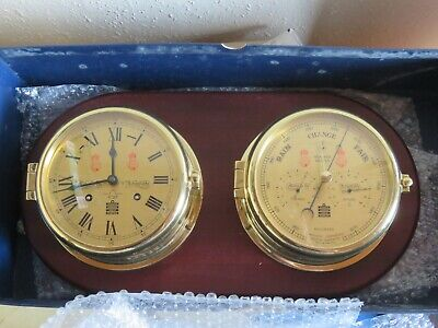 Antique brass ships clock (ships bells) and weather master, Sewills of Liverpool