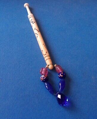 "Victorian Bovine Bone Lace Bobbin. ""Caroline"" on Shank. Spangles with Blue Drop."