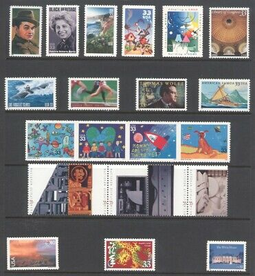 2000 U.s. Commemorative Year Set *100 Stamps* With 4 Sheets & Airmail Mint-Nh