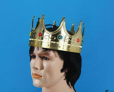 Star Power Royalty Jeweled King Costume Plastic Crown, Gold, 25 In