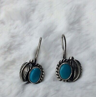 Vintage Southwestern Native American Sterling Silver Turquoise Pierced Earrings