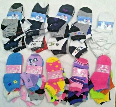 Lot 6 12 Pairs Kids Ankle Socks Toddler Boy Girl Casual Multi Color Size 6-8