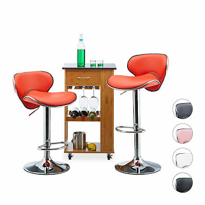 Bar Stool Set of 2, Height-Adjustable Kitchen Counter Chair, Padded, Backrest