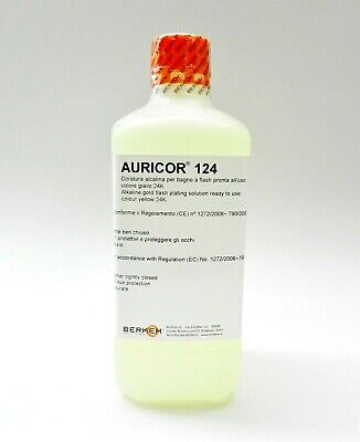 24K Yellow Gold Plating Solution AURICOR 124 24 Karat Electroplating Made Italy