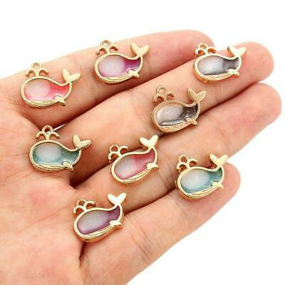 10 Enamel Alloy Dolphine Beads Connector Charms Pendant Jewelry DIY Craft Making