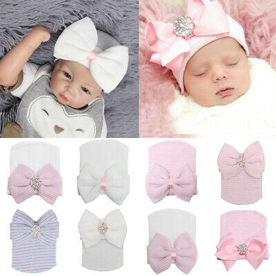Newborn Baby Girls Stripe Knitted Hat Bow Sequin Soft Infant Boys Beanie Hats
