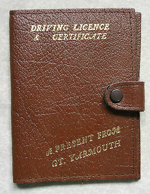 Wallet Vintage FAUX Leather BROWN DRIVING LICENCE 1970s GREAT YARMOUTH