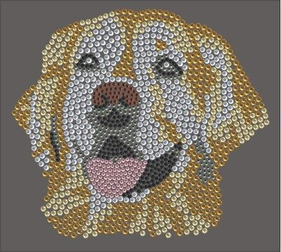 Hotfix Strass Bügelbild Strass Motiv Hund Golden Retriever Goldy 100323