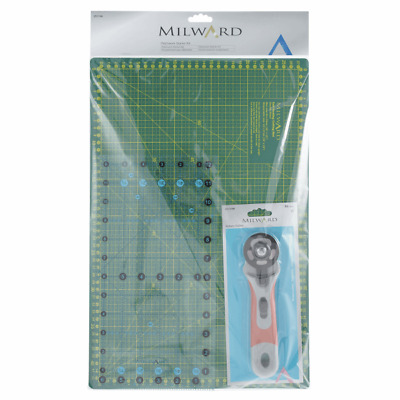 Milward Patchwork Starter Set Cutting Mat, 45mm Rotary Cutter, Patchwork Ruler