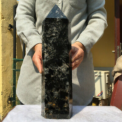 15.0lb Huge Natural Black Tourmaline Quartz Crystal Point Healing Wand Obelisk