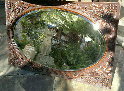 "Large Antique Black Forest Carved Wood Oval Wall Mirror Vine & Grapes 35"" by 22"""