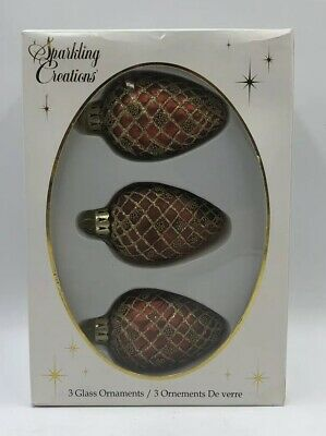 Sparkling Creations Glass Christmas Ornaments Pine Cones