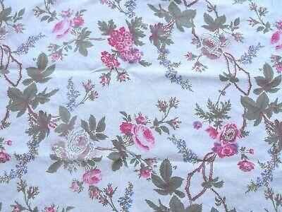 Reclaimed 1980s Laura Ashley Fabric Pretty Pink and White Roses 38 x 98cm
