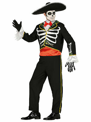 Mens Day Of The Dead Costume Mexican Bond Skeleton Halloween Fancy Dress Adult