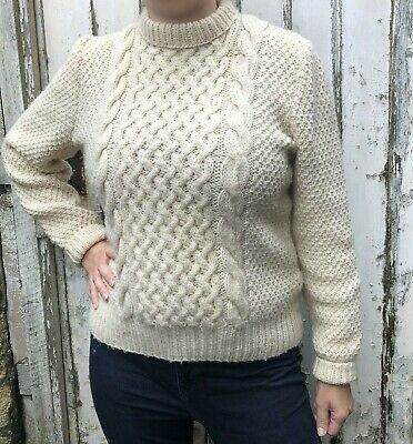 HANDKNITTED Aran Jumper Size Medium (14) Cream Cable Knit