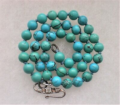 """Vintage Artisan Genuine Turquoise 8MM Beads Beaded Necklace Sterling Clasp 17"""""""