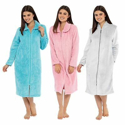Womens Ladies Undercover Cosy Winter Soft Fleece Zip Through Dressing Gown Robe