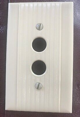Vintage Original Single Gang Ivory Push Button Wall Cover Plate +Matching Screws