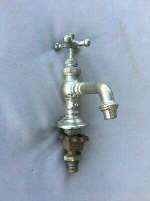 Early Antique Nickel Brass Hot Or Cold Sink Faucet E.STEBBINS Plumbing 220-19
