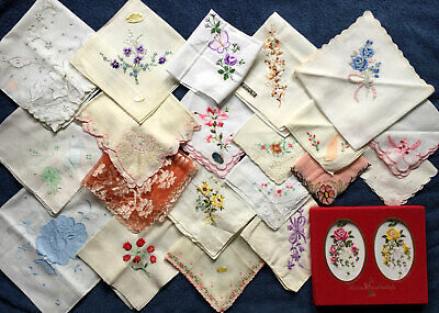 Vintage Lot 22 Ladies Floral Embroidered Hankies Handkerchief