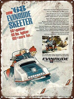 """1968 Evinrude Skeeter Quieter Outboard Snowmobile Sleigh Metal Sign 9x12"""" A438"""