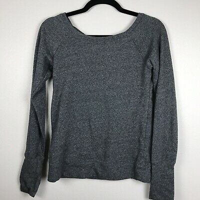 SO Perfect Crew Neck Pullover Long Sleeve Top XS Gray Solid F49