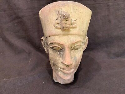 """Egyptian antique stone carved bust of a pharaoh 7.25"""""""