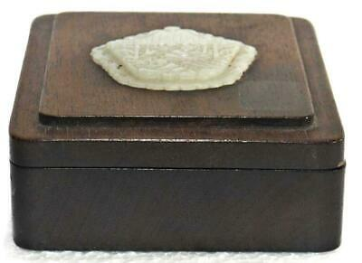 Superb Antique Chinese Jade Inlaid Wood Box.