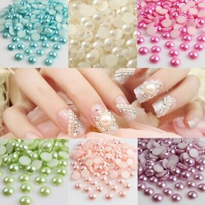 100pcs Pearl Half Round Bead color Flat Pick Back Scrapbook for Craft