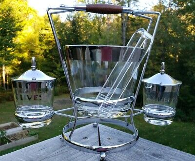 Vintage Ice Bucket & Glasses Bar Ware Set with Cherry & Olive carrying holder.
