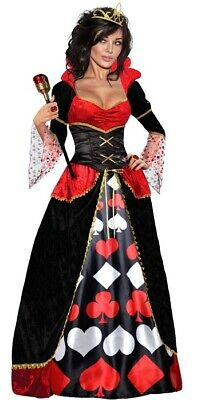 K167 Deluxe Ladies Queen Of Hearts Alice In Wonderland Dress Gown Costume