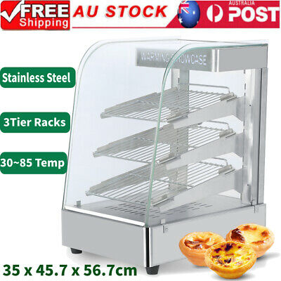 Commercial 3 Tier Food Pastry Pizza Pie Soup Warmer Hot Display Showcase Cabinet