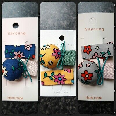 Toddler /  Baby Girls Fabric Hair Clips X 2 / Floral / Yellow / Blue / Grey
