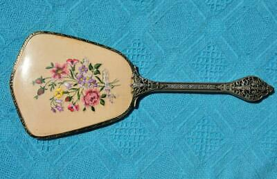 VINTAGE Original Large Hand Mirror. Rare. Embroidered Floral Top. Pink/Lilc/Red