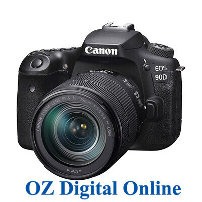 NEW Canon EOS 90D +18-135 USM Kit 32.2MP Wifi 4K Video DSLR Camera 1 Year Au Wty
