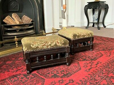 LOVELY PAIR OF 19th CENTURY ANTIQUE VICTORIAN MAHOGANY UPHOLSTERED FOOTSTOOLS