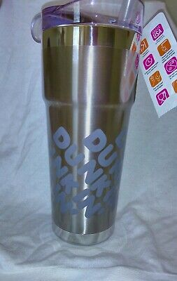 Brand New Dunkin 24oz Insulated Travel Mug/ Tumbler Silver Stainless Steel /Logo