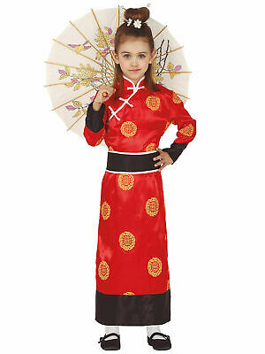 Girls Geisha Costume Childs Chinese Oriental Kimono Japanese Fancy Dress Outfit