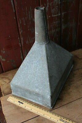 Vintage Rectangular Galvanised Tractor Funnel Stamped With A Logo