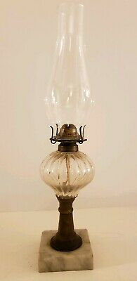 Antique Victorian P&A Mfg. Co. Eagle Footed Glass Font Oil Lamp with Marble Base