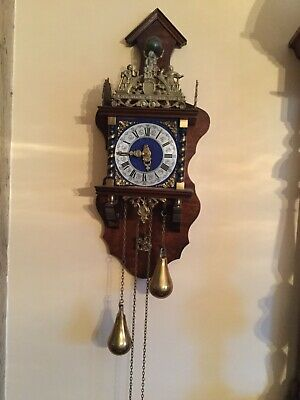 Vintage Dutch Wall Clock with Blue Face and weights. Working Order.