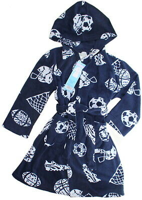 KOMAR KIDS Boys Plush Hooded DRESSING GOWN Fleece Robe USA SPORTS Blue 5-6 Yrs