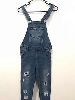 Girls Cotton On Denim Overall Jeans One Piece Ripped Distressed Blue Cute Size 9