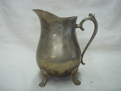 """Vintage Silverplate Footed Water Pitcher With Ice Guard 8-1/2"""" Tall"""
