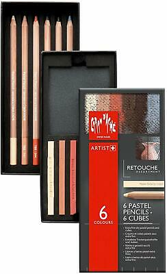 Caran D'Ache Retouch Pastel Pencils with Cubes- Assorted Colours (Pack of 6)