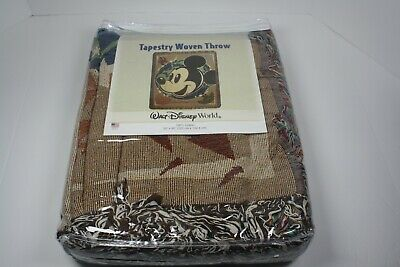Mickey Mouse Tapestry Woven Throw Blanket Walt Disney World 50 x 60 Made In USA!