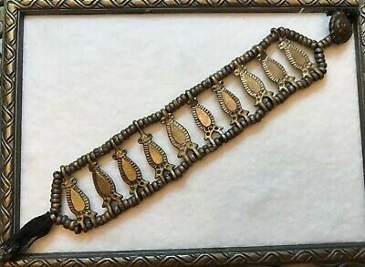 Antique Jewelry VICTORIAN BRACELET Brass / Bronze Egyptian revival Button Clasp