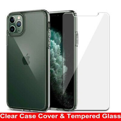 For iPhone 11 Pro Max XS Max X XR 8 7 Clear Case Cover & Glass Screen Protector