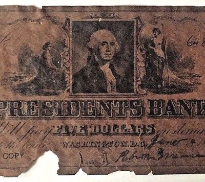 1852 President's Bank $5 Note Dist of Columbia Promo COPY Reproduction Souvenir